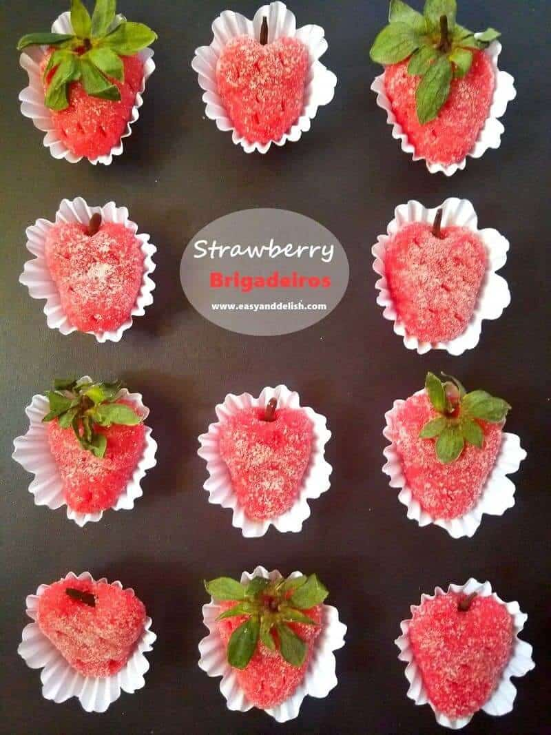 Strawberry candies in a platter