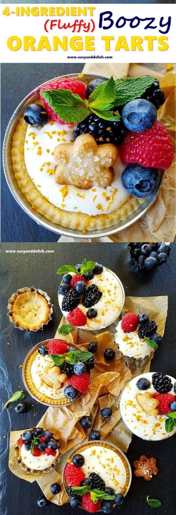 collage of orange tarts