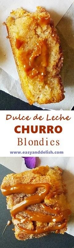 dulce de leche blondies -- collage