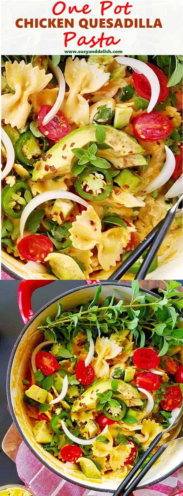 Two combined close up images of one pot chicken quesadilla pasta