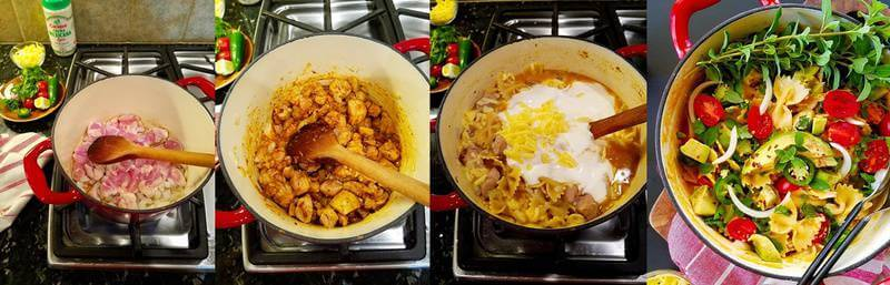 Four combined images showing how to make one pot chicken quesadilla pasta