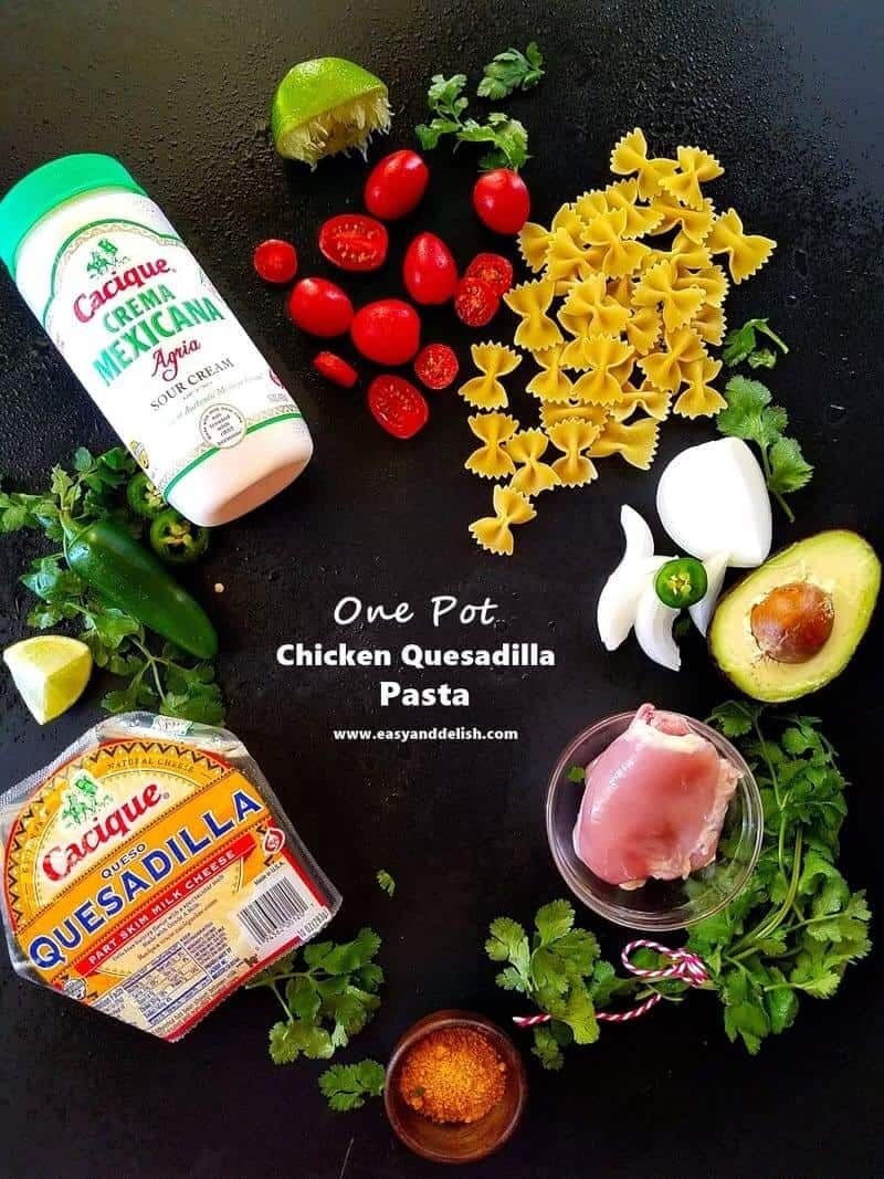 ingredients for one pot chicken quesadilla pasta on a table