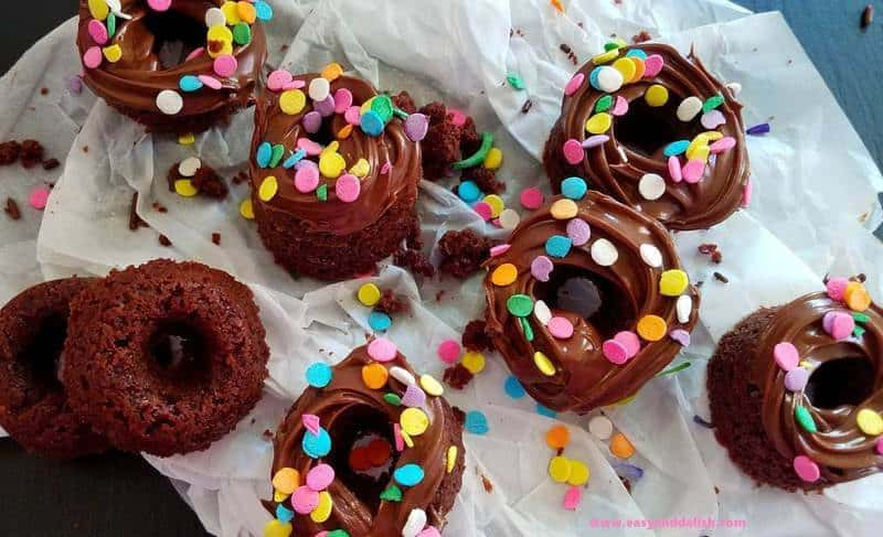 A close up of funfetti donuts