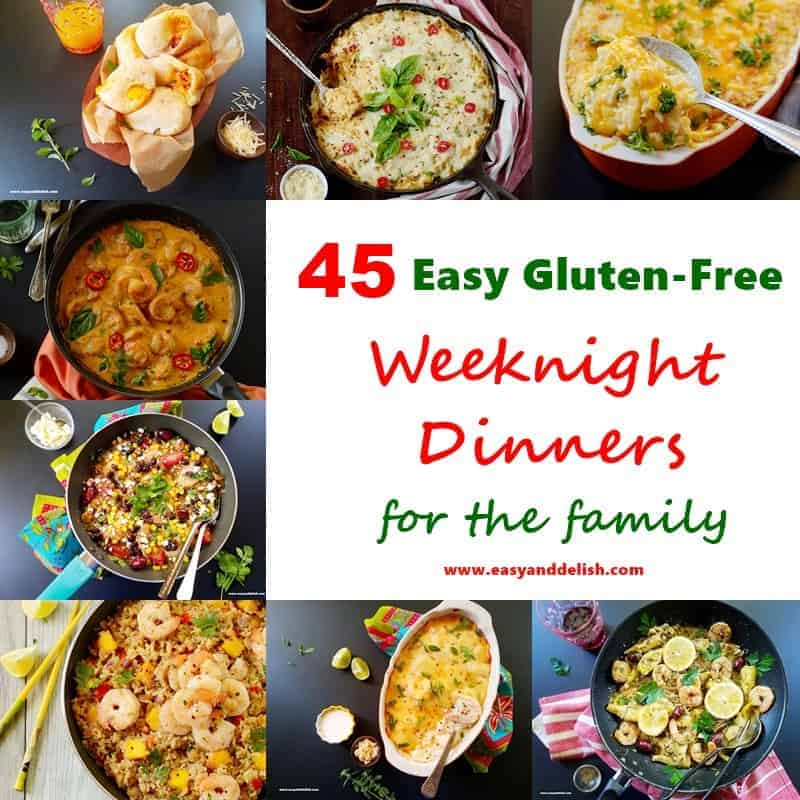 Square image showing 8 out of 45 easy gluten-free weeknight dinners