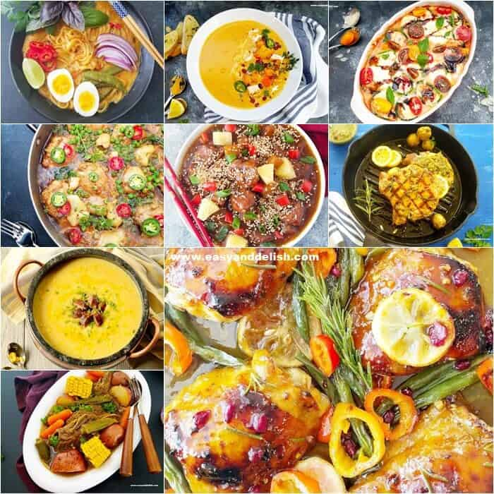 photo collage with 9 dishes from the all recipes index on Easy and Delish