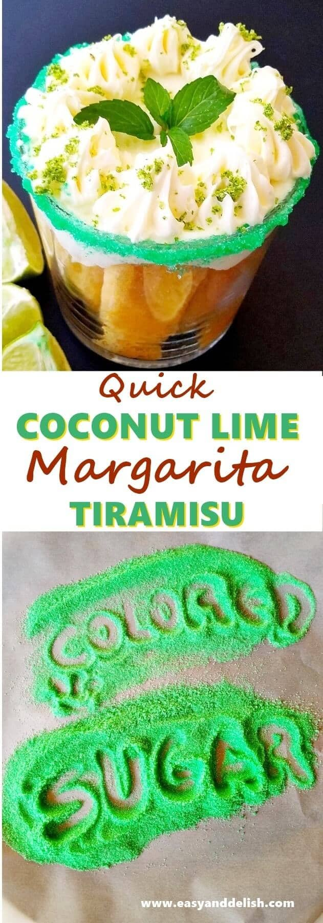 collage and close up of coconut tiramisu