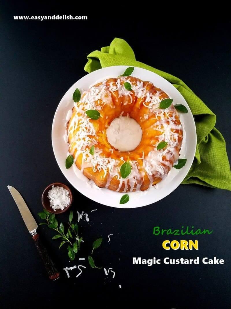 magic custard cake whole with garnishes on the side