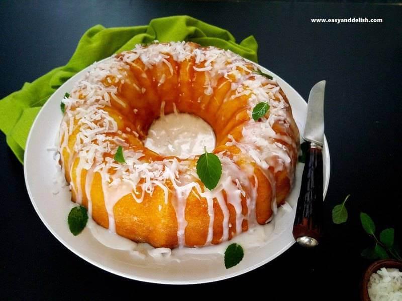magic custard cake whole with knife on the side