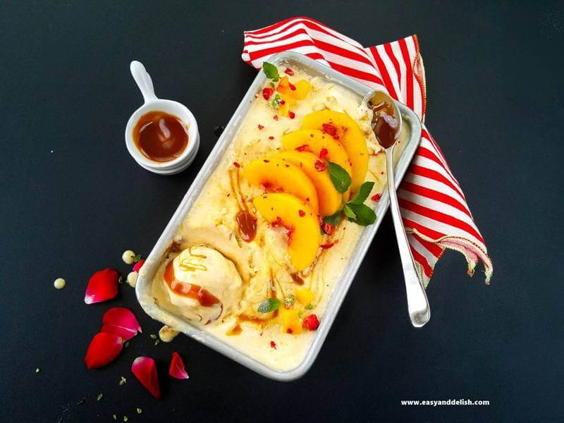 A container with peach nice cream