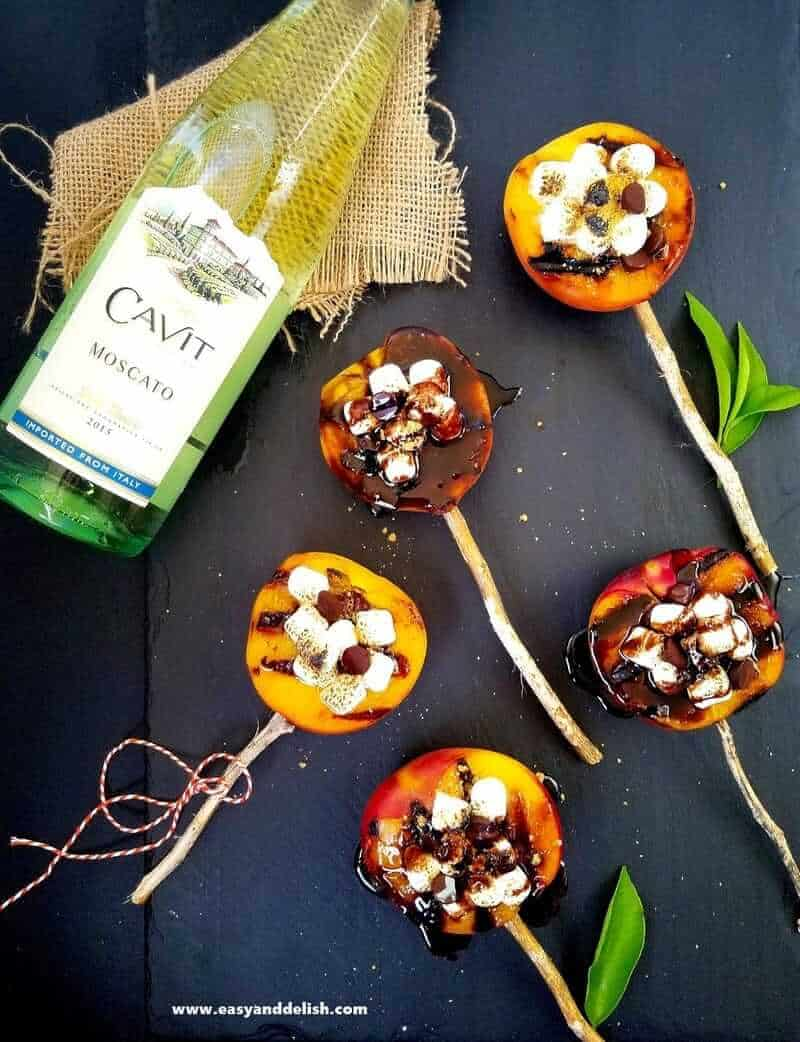 grilled peach smores with a  bottle of wine on the side