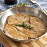 veal marsala in a skillet -- close up