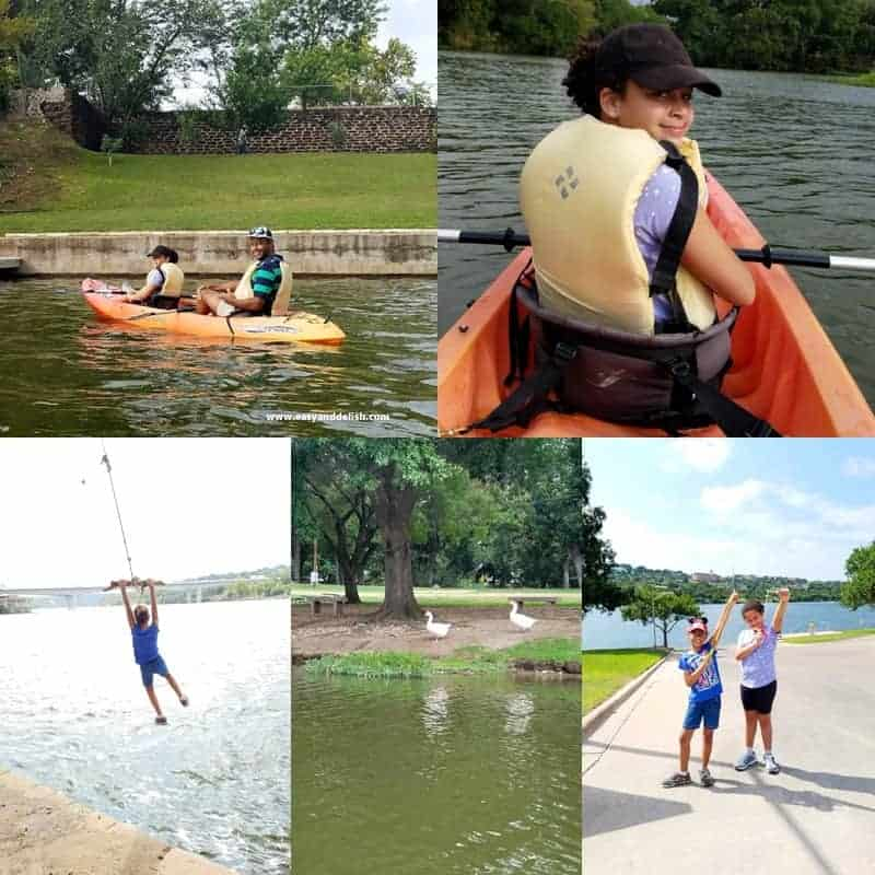 collage of my family having fun in Marble Falls lake