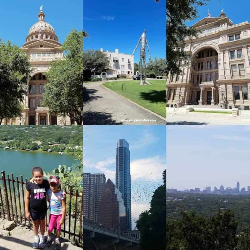 A group of people standing in front of The capitol building in Austin, TX (collage)