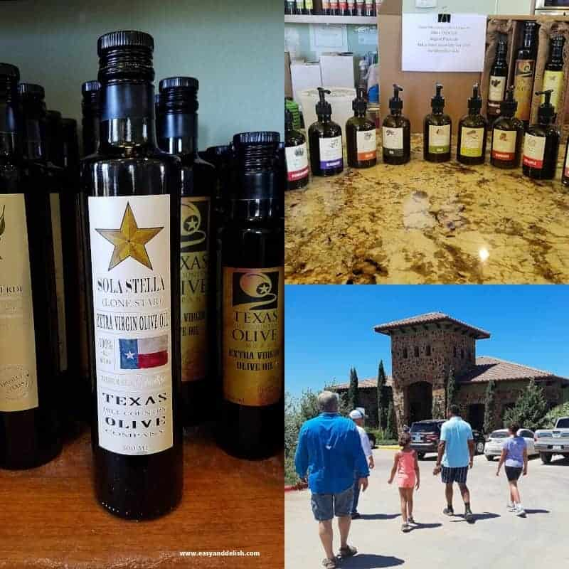 wine and vinegar bottles in Texas Hill Country (collage)