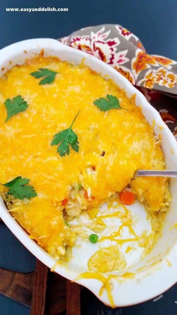 chicken baked rice partially eaten