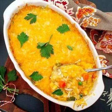 Chicken-Pot-Pie-Baked-Rice