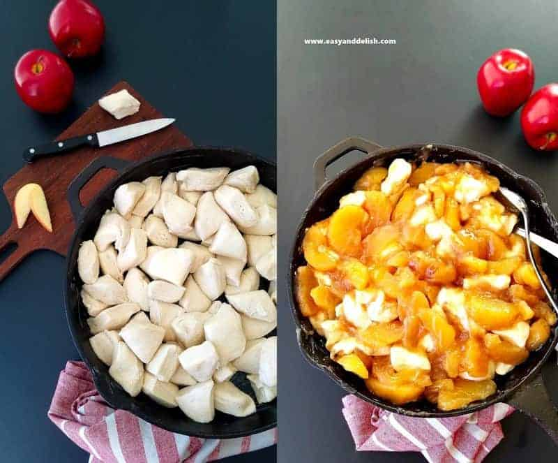 two photo collage showing how to make apple pie cobbler recipe