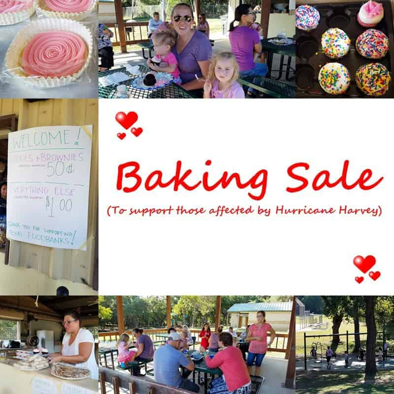 a collage showing images of a baking sale