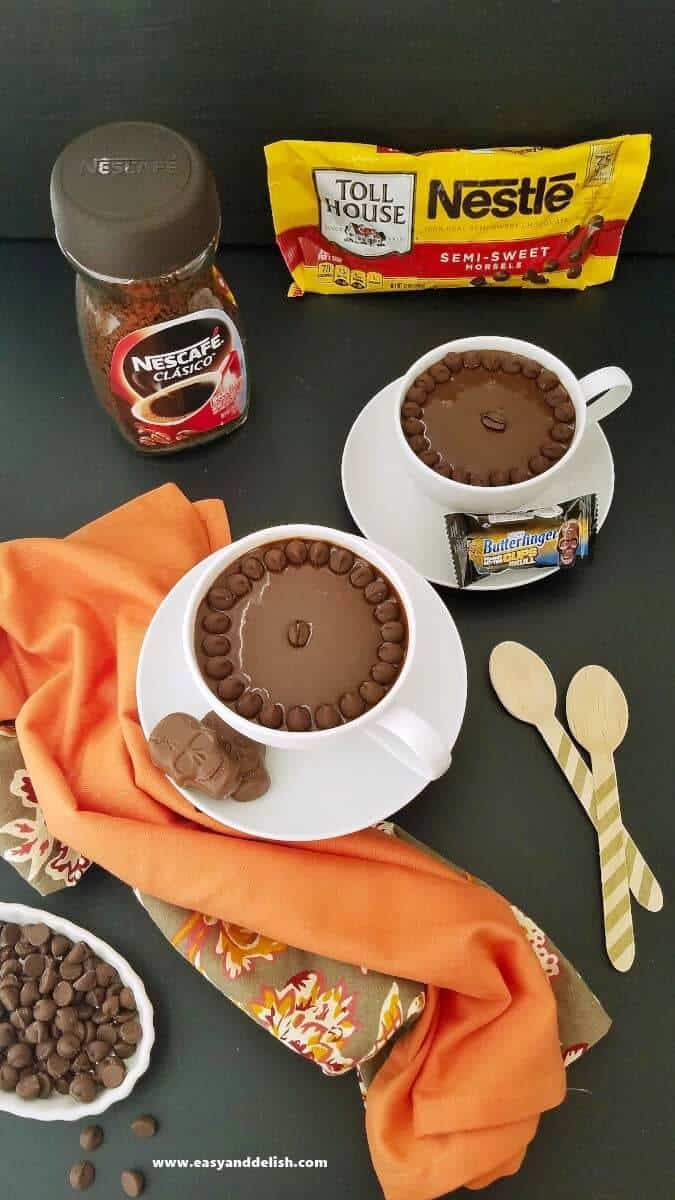 coffee fudge cups with a jar of Instant coffee on the background plus chocolate chips