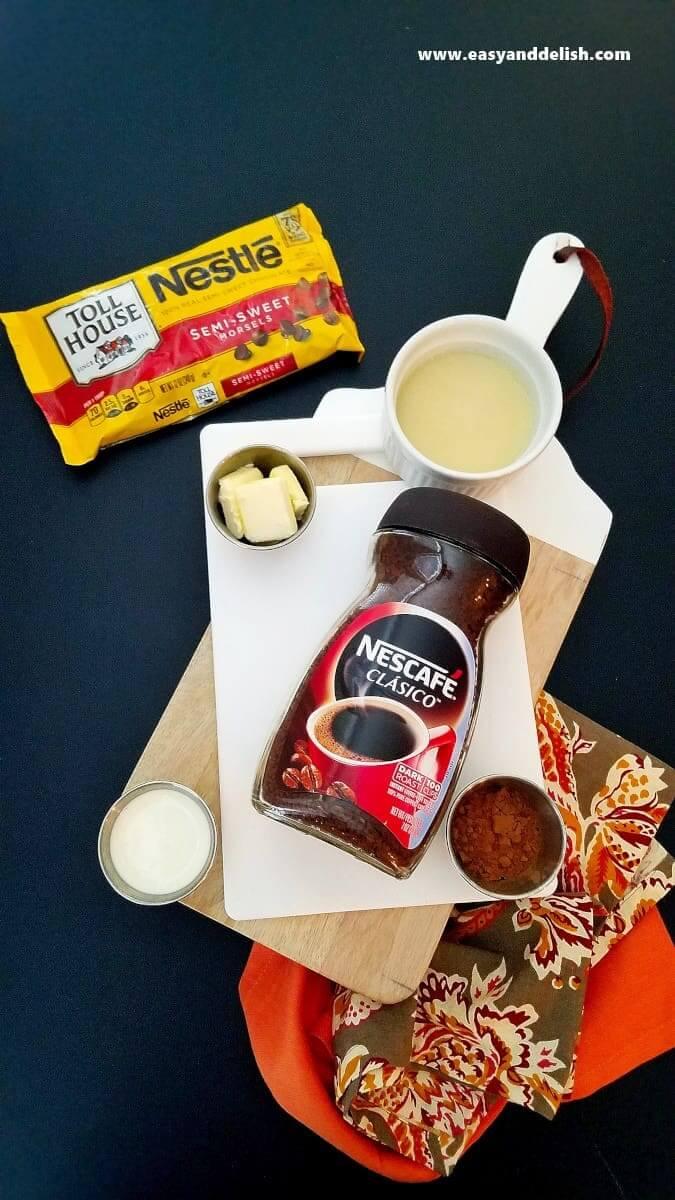 ingredients for coffee fudge
