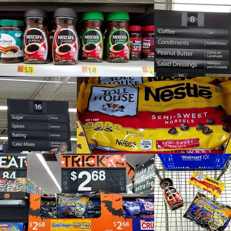 aisle of a supermarket showing coffee fudge products