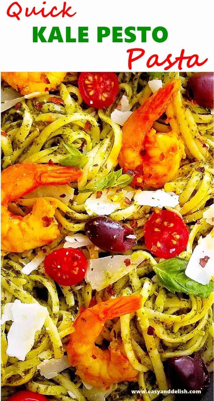 A close up of kale pasta