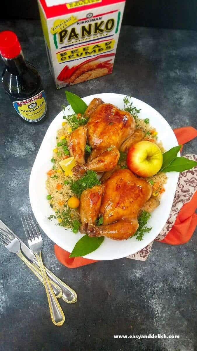 two Apple glaze cornish hens in a platter