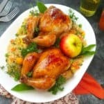 Apple Glaze Cornish Hen with Toasted Herb Dressing