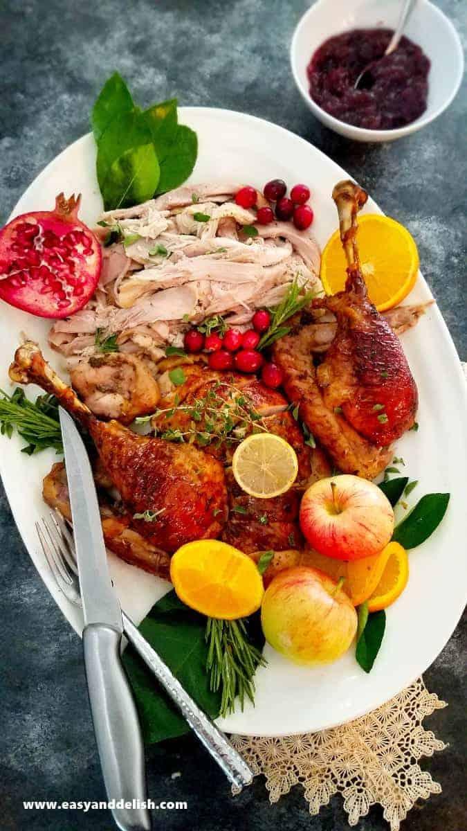 carved roast turkey in a platter