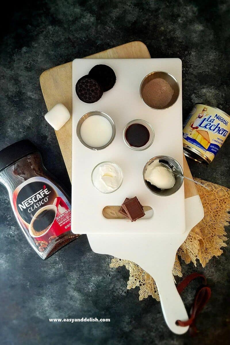 ingredients for hot chocolate trifle