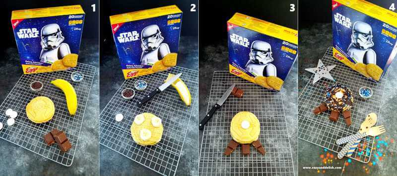 collage showing how to make star wars pancakes