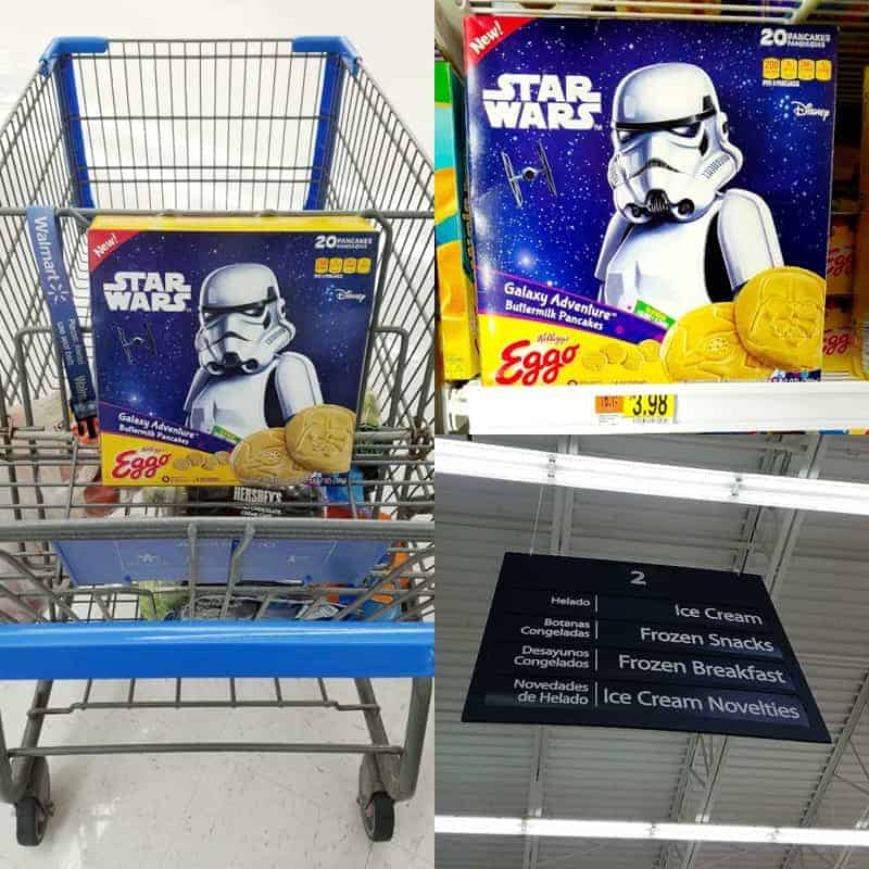 collage showing where to find star wars pancakes in the supermarket