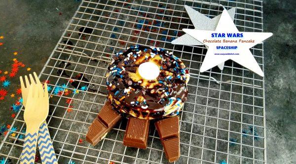 Star-wars-chocolate-banana-pancake-spaceship, Star-wars-party-tutorial
