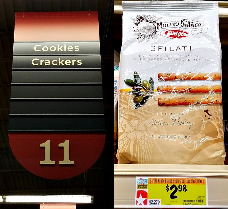 2 image compillation showing HEB aisle where to find breadsticks