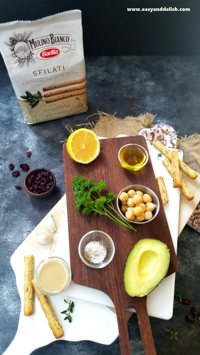 ingreidents for avocado hummus recipe over a table