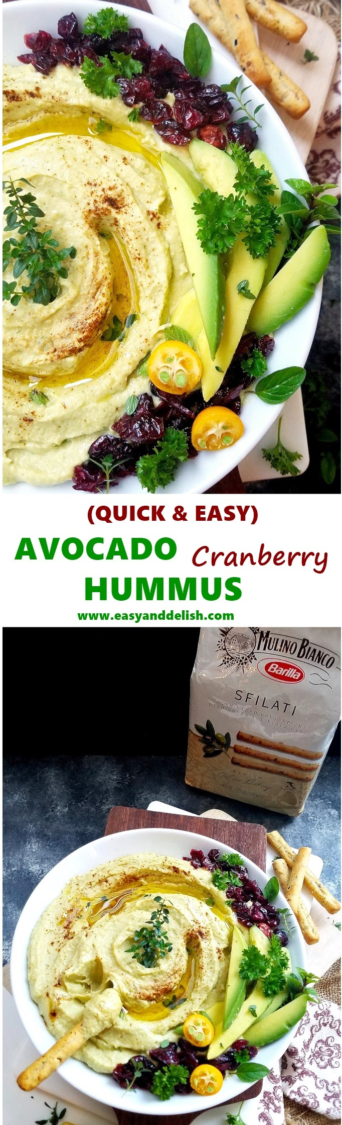 2 collage images with close up of the avocado hummus