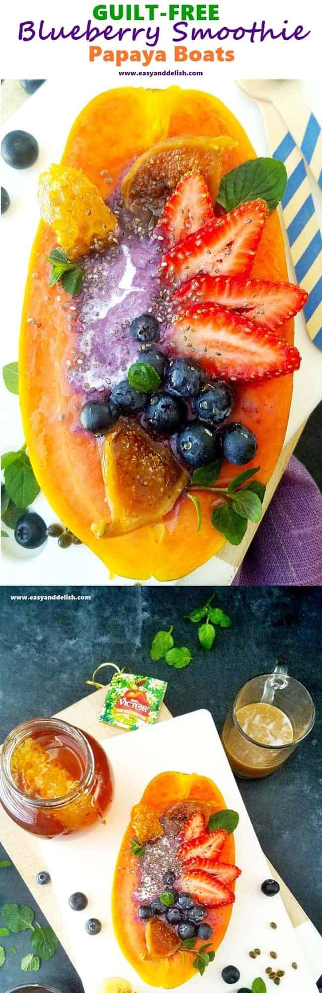 collage of blueberry smoothie papaya boats