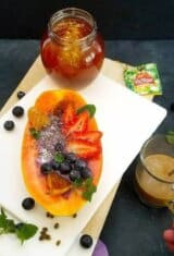 Blueberry-smoothie-papaya-boats