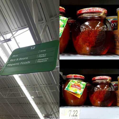 honey jars on a supermarket shelf (collage)
