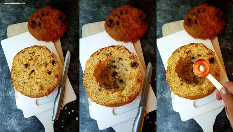 collage showing how to make baked Alaska panettone