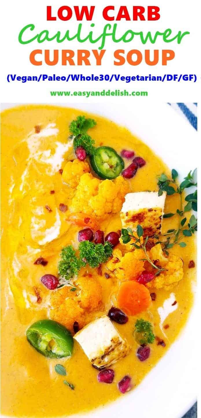 close up image for a bowl of cauliflower curry soup