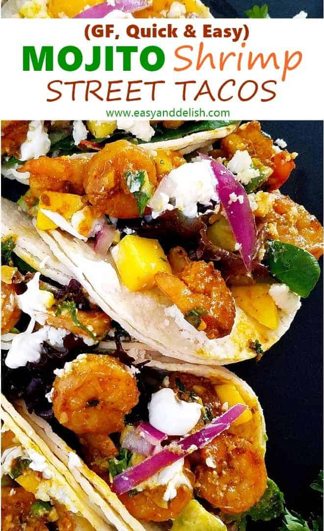 Close up image of Mojito shrimp street tacos showing filling ingredients .