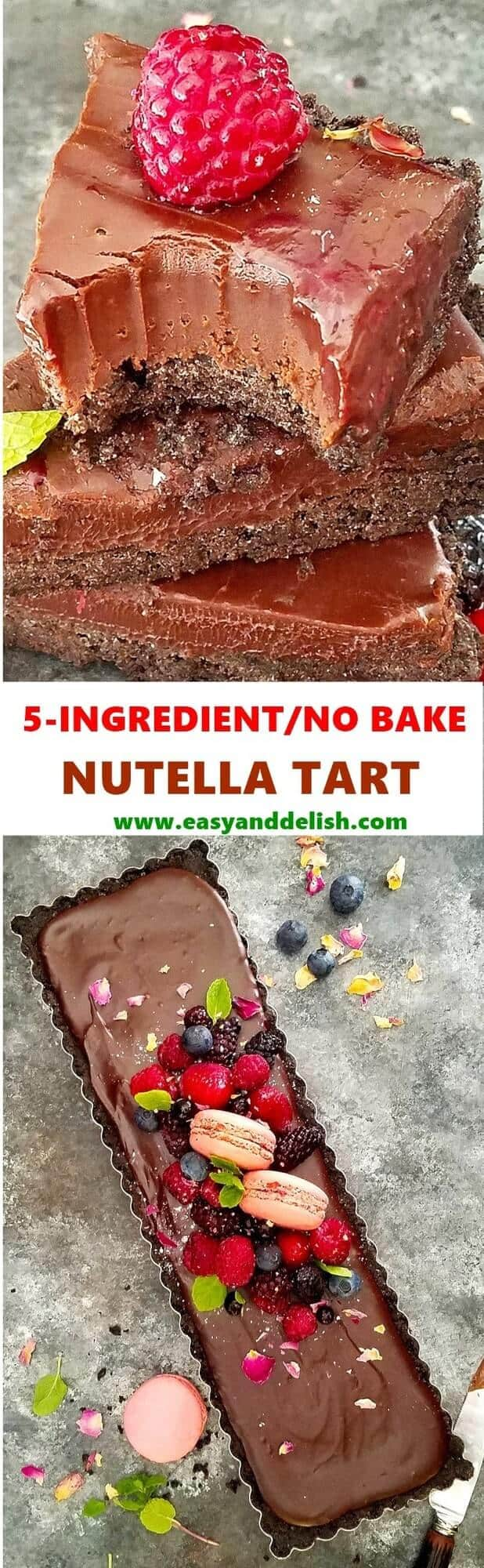Combined close up image of No Bake Nutella Tart, sliced and piled on the top and whole tart on the bottom.