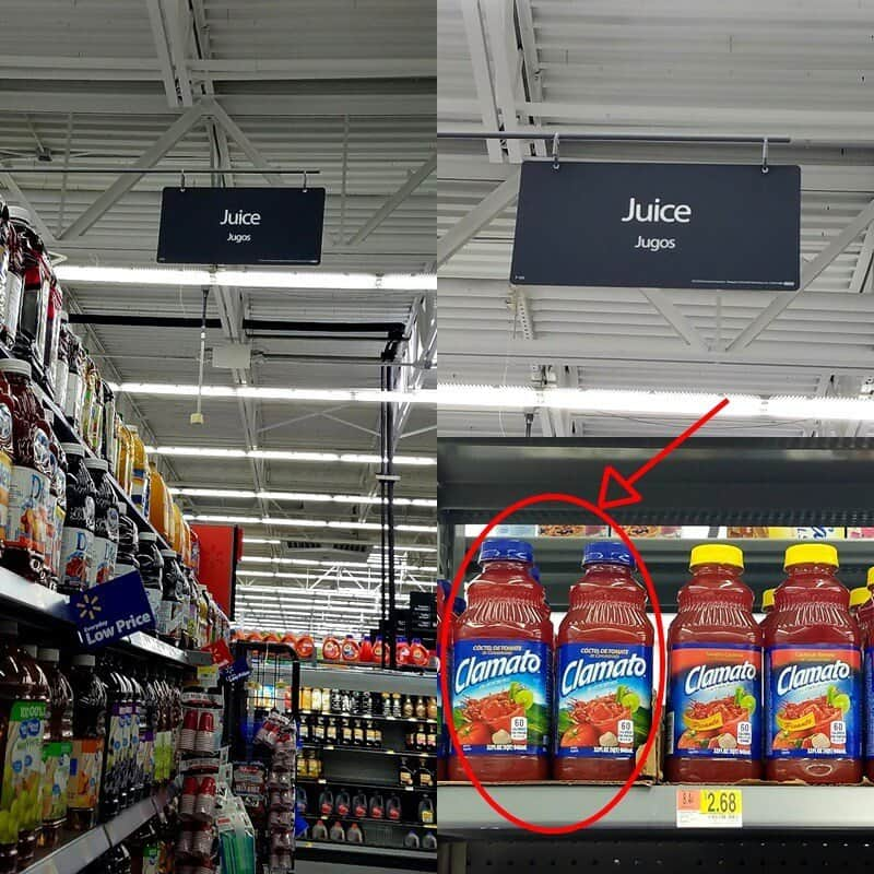 Combined images of Clamato juice bottles on Walmart shelves.
