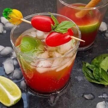 Tomato-basil-caipirinha-cocktail, Caipirinha-de-tomate-e-manjericao