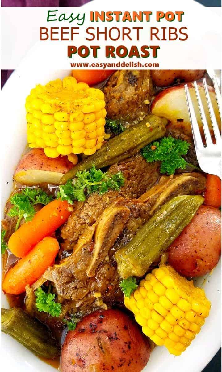 Close up image of a platter full of beef short rib pot roast with a fork on the side.