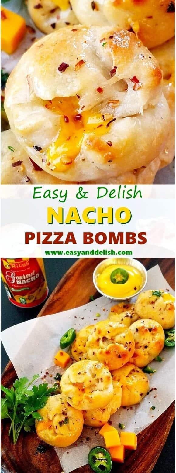 Close up image of a nacho pizza bomb