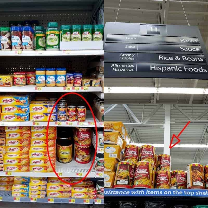 shelves of a supermarket showing where products are located