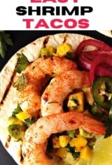 close up image with spicy shrimp tacos