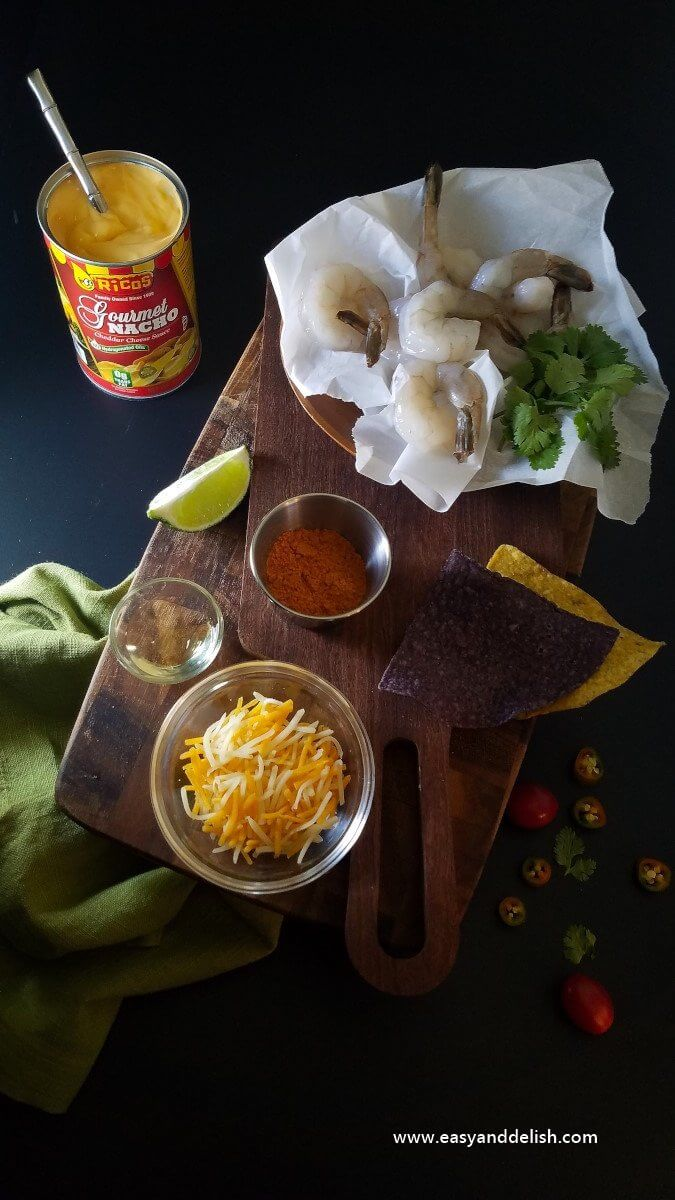 ingredients for shrimp nachos